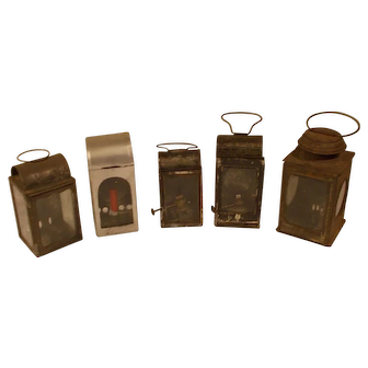A party of 5 antique oil / candle hand lanterns antique lighting.