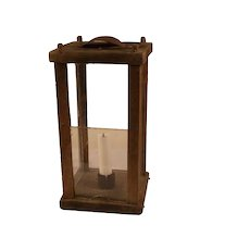 Antique 19 century Swedish barn / stable four sided wood and glass candle lantern Sweden Scandinavian .