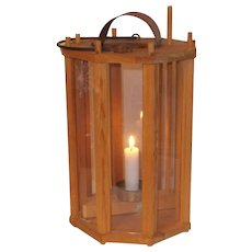 Rare large older vintage barn candle lantern octagon eight sided Swedish replica .