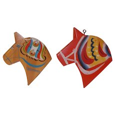 2 each vintage Swedish Dala Horse / Dala Häst door / wall silhouette  from the first half of the 20 century Sweden