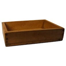 Antique Swedish primitive 19 century wood apple drying box or meat chopping box in Swedish pine wood with dome nails.