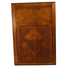 Large Rare antique Swedish Art Nouveau / Jugend in hard wood hand engraved wall News paper /  Magazine rack / Letter holder.