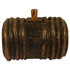 Antique Swedish 19 century small wood whiskey or water barrel / keg signed dated 1869 .