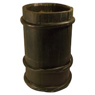 Antique 19 century primitive barrel style wood container folk art green .
