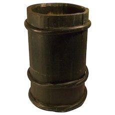 Antique 19 century primitive barrel style wood container folk art green .