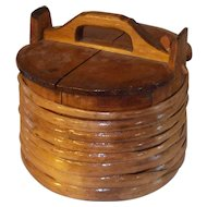 Antique 19 Century primitive wooden butter bucket with lid.
