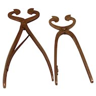 2 each Antique 18/19 Century wrought iron Georgian Blacksmith made sugar Nippers / Snips / Cutters .