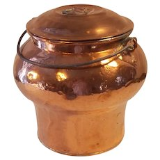 Antique Swedish copper mushroom style butter - milk can / pail / bucket Swedish farmers kitchen 1800`s / 19 century .