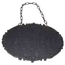 Older authentic Swedish open and close store sign Sweden 1900`s