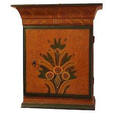 Antique 19 Century primitive  Scandinavian Swedish folk art wood hanging cabinet dated 1816 Sweden .