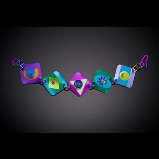 Anodized Aluminum Five Diamond Bracelets with Double Accents