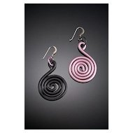 Anodized Aluminum Clef Earrings