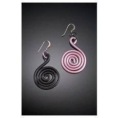 Anodized Aluminum Clef Earrings