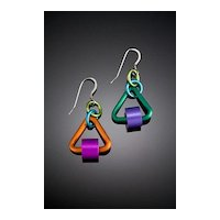 Anodized Aluminum Triangle Tube Earrings