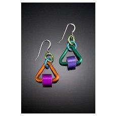 Anodized Aluminum Triangle Tube Earrings