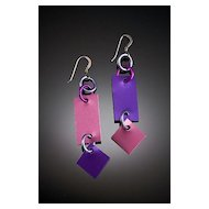Anodized Aluminum Rectangle Earrings with Dangle
