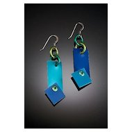 Anodized Aluminum Rectangle Rivet Earrings
