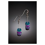 Anodized Aluminum Triple Little Washer Earrings