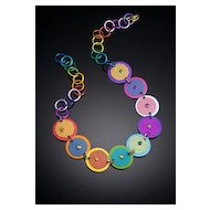 Anodized Aluminum Small Double Disc Necklaces