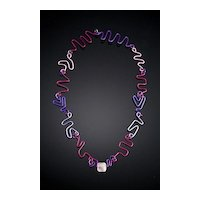Anodized Aluminum Free Form Wire Necklaces with Accent Bead
