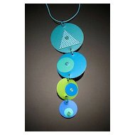 Anodized Aluminum Four Disc Drop Necklaces