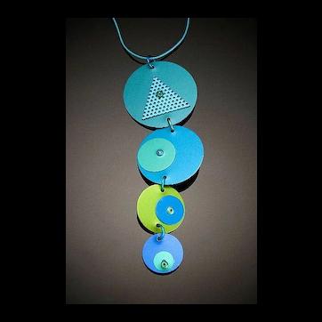 Anodized Aluminum Four Disc Drop Necklaces