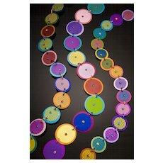 Anodized Aluminum Large Double Disc Necklaces