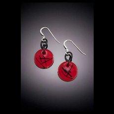Two Toned Enameled Earrings