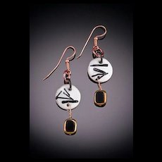 Two Toned Enameled Earrings with Dangle Accents