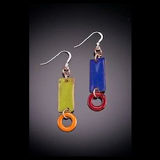 Enameled Rectangle Earrings with Drops