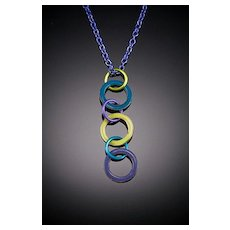 Enameled Triple Washer Pendant Necklaces