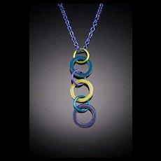 Enameled Triple Washer Pendant Necklaces