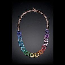 Large Enameled Copper Washer Necklaces