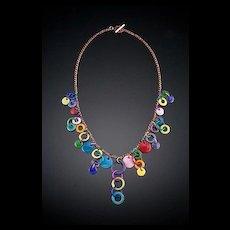 'Charm Bracelet' Style Copper Enameled Necklaces