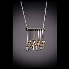 Hand Hammered Sterling Necklaces with 14kt.Gold Accents