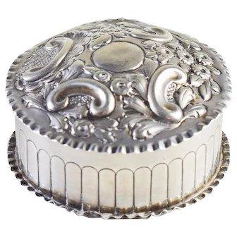 Victorian Samuel Walton Smith Sterling Silver Repousse Box