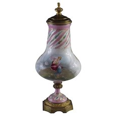 Sevres Style  Hand Painted Bolted Urn