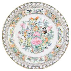 Antique Chinese Export Rose Canton Plate