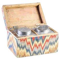 Antique Bargello Covered Tea Caddy