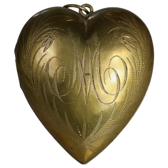 Dated Antique 19th Century French Gilded Brass Heart of Mary Sacred Ex Voto Heart 1907