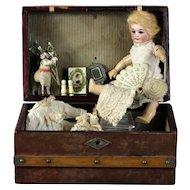 "Original Antique Presentation Trunk German bisque 7.3"" Mignonette doll ~French Market"