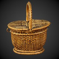 Antique French  Miniature doll wicker picnic basket, free shipping