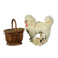 "Beautiful Antique German toy doll salon dog 6.7"" Pomeranian Spitz Free shipping"