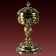 19th century French silver church ciborium gold plated