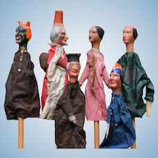 Antique French set 6 pieces 1880's puppet show dolls Punch and Judy Papier-mache