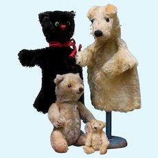 Cat & dog 2 Steiff puppet 1950's German fox terrier / black kitty FREE SHIPPING
