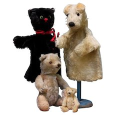 Cat & dog 2 Steiff puppet 1950's German fox terrier / black kitty FREE SHIPPING