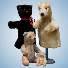 Cat & dog 2 Steiff puppet 1950's German fox terrier / black pussy FREE SHIPPING