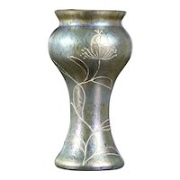 Loetz Art Nouveau golden amber petrol blue vase great details