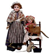"""Sweet cabinet 15"""" bisque doll with lovely blue eyes in all original French Folk"""